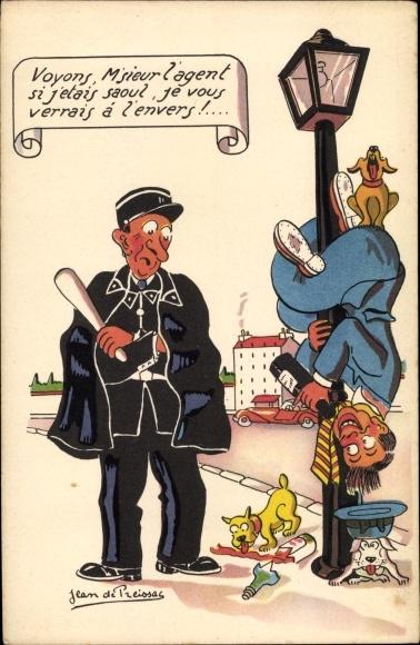 Künstler Ak Preissac, Jean de, Voyons, M'sieur l'agent, Polizist mit Schlagstock