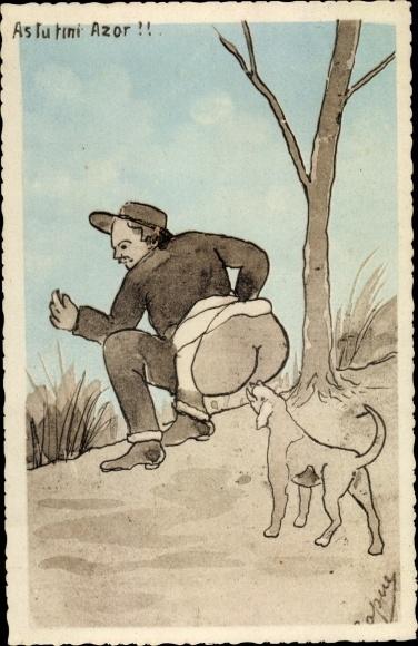 Künstler Ak Hund leckt am nackten Hintern von einem Mann