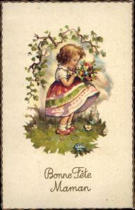 Ak Glückwunsch Muttertag, Mädchen mit buntem Blumenstrauß