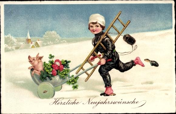 Ak Glückwunsch Neujahr, Schornsteinfeger, Glücksschwein, Kleeblätter, Fliegenpilze