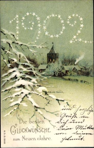 Ak Glückwunsch Neujahr, Jahreszahl 1902, Winterszene