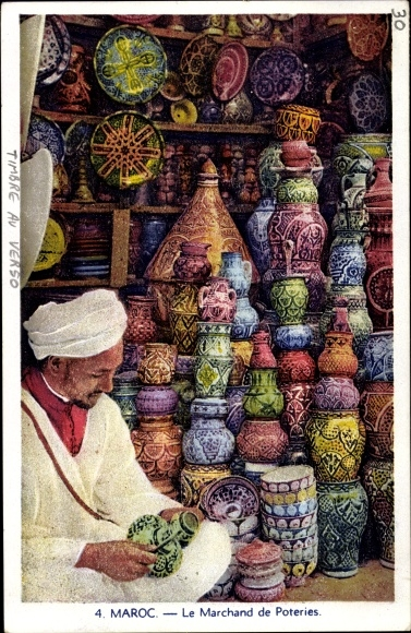 Ak Marokko, Le Marchand de Poteries, Töpferwaren Verkäufer