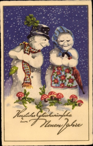 Ak Glückwunsch Neujahr, Zwei Schneemänner, Fliegenpilze, Kleeblätter