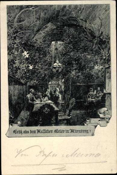 Ak Nürnberg in Mittelfranken Bayern, Trink aus dem Kallauer Keller, Innenansicht