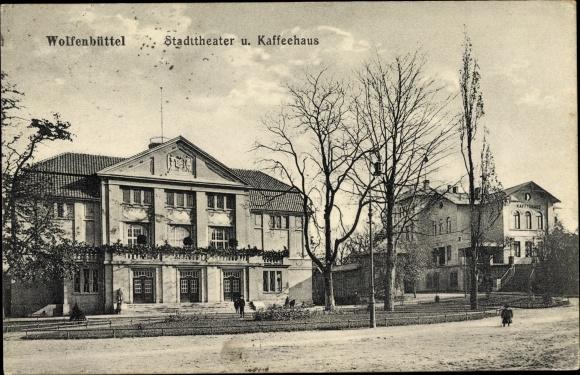 Ak Wolfenbüttel in Niedersachsen, Stadttheater und Kaffeehaus