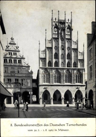 Ak Münster in Westfalen, Rathaus mit Stadtweinhaus