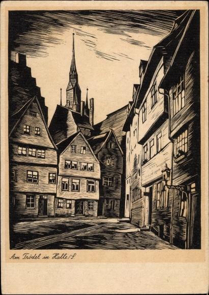 Künstler Ak Carl Warnecke, Halle an der Saale, Am Trödel