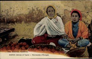 Ak Marokko, Scenes et Types, Marchandes d'Oranges, Orangenhändlerinnen, Maghreb