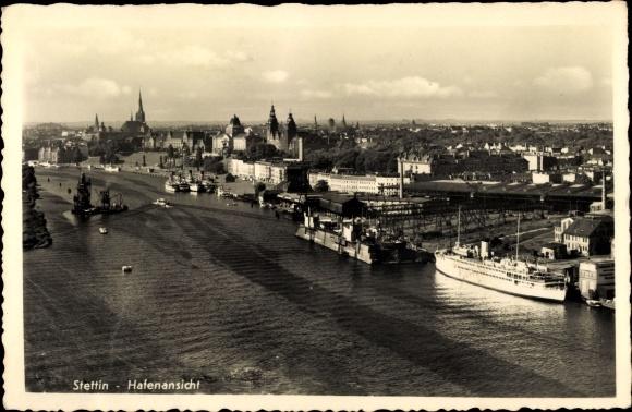 Ak Szczecin Stettin Pommern, Hafenansicht, Dampfer