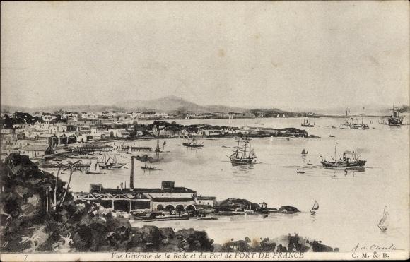 Ak Fort de France Martinique, Vue générale de la Rade, Totalansicht