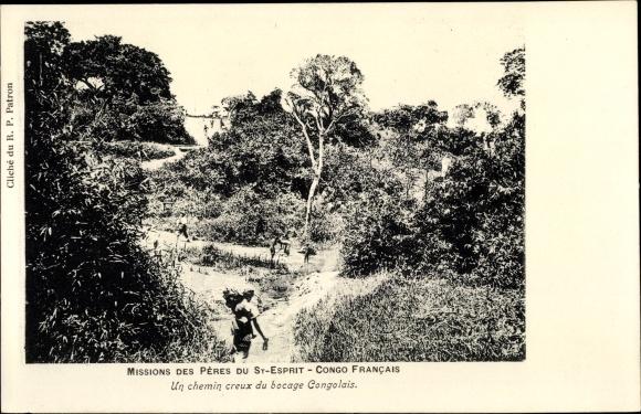 Ak Französisch Kongo, Un chemin creux du bocage Congolais