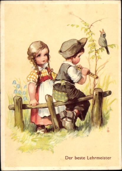 Künstler Ak Der beste Lehrmeister, Junge mit Flöte, Mädchen, Amsel