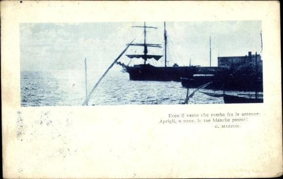 Ak Segelschiff bei Sonnenuntergang im Hafen, Ecco il vento