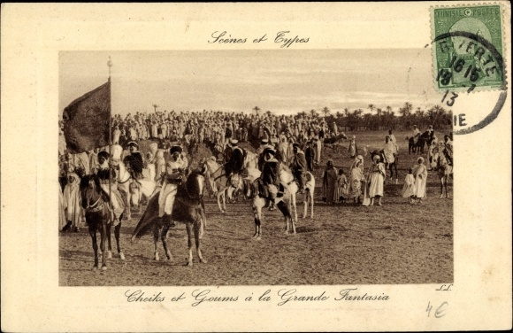 Ak Scenes et Types, Cheiks et Goums à la Grande Fantasia, Araber auf Pferden, Maghreb