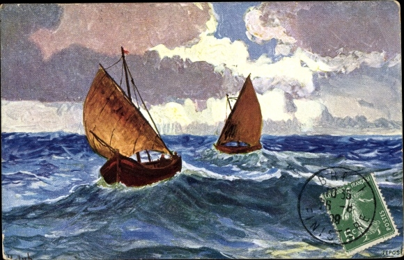 Künstler Ak Zwei Segelboote auf dem Meer, Sturm, Wolken, Wellen, BKWI 871 4