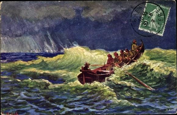 Künstler Ak Ruderboot im Sturm auf dem Meer, BKWI 871 5