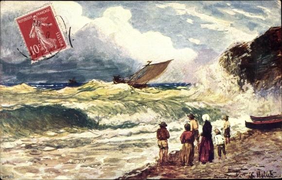 Künstler Ak Personen betrachten ein Segelboot auf dem Meer im Sturm, BKWI 871 2