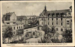 Ak Essen im Ruhrgebiet, Limbecker Platz, Kruppdenkmal u. Blick auf die Krupp'schen Werke