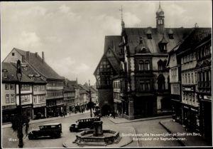 Ak Nordhausen in Thüringen, Kornmarkt, Neptunbrunnen, Drogerie Hartmann, A. Tellgmann, Franz Emmert