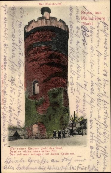 Ak Müncheberg Märkisch Oderland, Der Storchturm