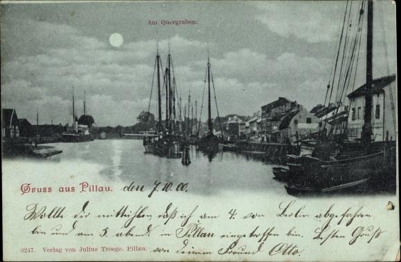 Mondschein Ak Baltijsk Pillau Kaliningrad Ostpreußen, Am Quergraben