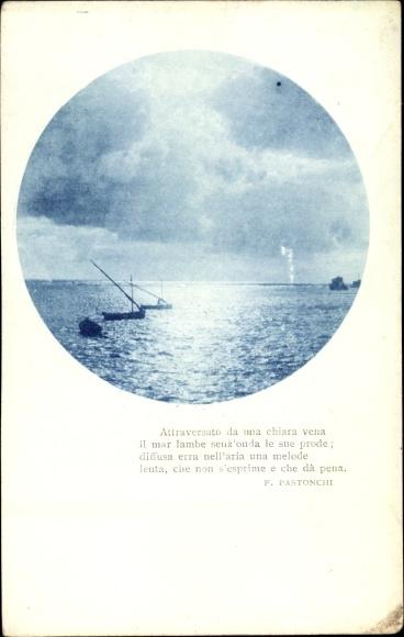 Ak Segelboote auf dem Wasser bei Sonnenuntergang, Attraversato da una chiara vena il mar lambe