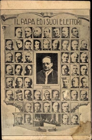 Ak Papst Pius XI., Achille Ambrogio Damiano Ratti, Portrait, Il Papa e di Suoi Elettori