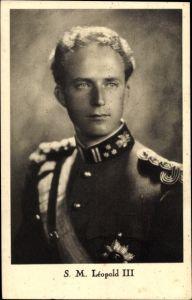 Ak König Leopold III. von Belgien, Portrait, Uniform, Schärpe