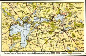 Landkarten Ak Eutin Ostholstein, Großer Plöner See, Behler See, Kellersee, Malente, Lebrade, Plön