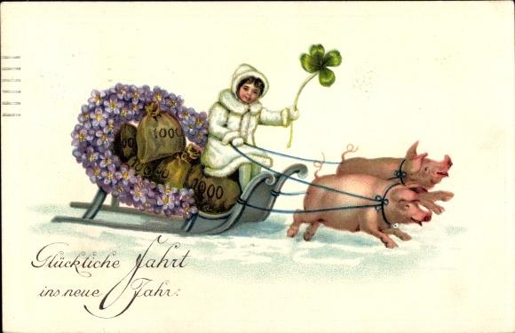 Präge Ak Glückwunsch Neujahr, Schweine, Geldsäcke, Kleeblatt, Schlitten