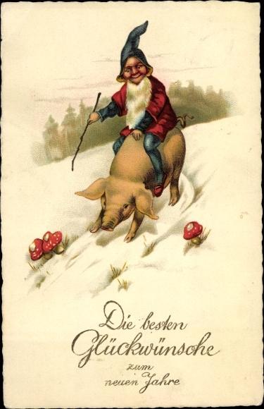 Ak Glückwunsch Neujahr, Zwerg, Schwein, Fliegenpilze, EAS 526
