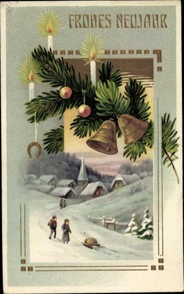 Präge Ak Glückwunsch Neujahr, Glocken, Tannenbaum, Kerzen, Hufeisen