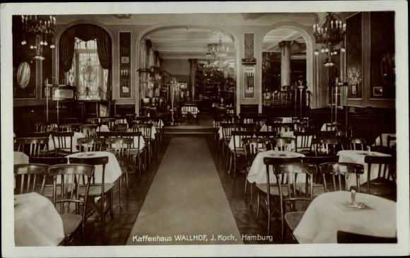 Ak Hamburg Altstadt, Caféhaus Wallhof, Bes. J. Koch, Innenansicht