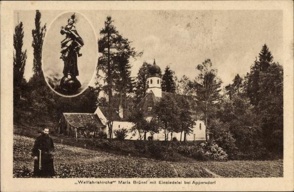 Ak Appersdorf Elsendorf Niederbayern, Wallfahrtskirche Maria Brünnl, Einsiedelei, Mönch, Mariastatue