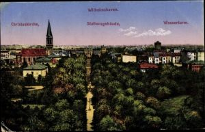 Ak Wilhelmshaven in Niedersachsen, Christuskirche, Stationsgebäude, Wasserturm
