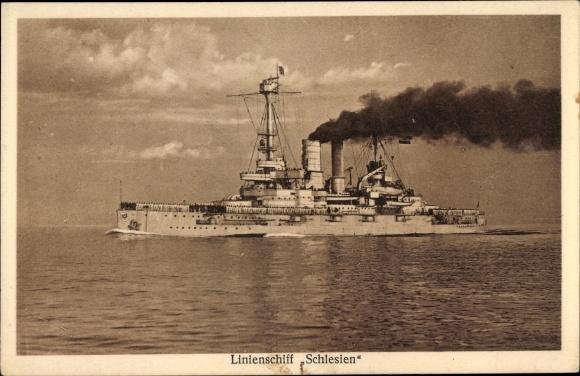 Ak Deutsches Kriegsschiff, Linienschiff Schlesien