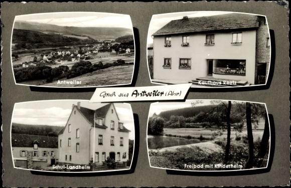 Ak Antweiler an der Ahr, Kaufhaus Reetz, Schullandheim, Freibad mit Kinderheim