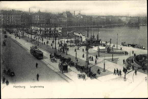 Ak Hamburg Altstadt, Jungfernstieg, Straßenbahn, Pferdekutschen, Passanten