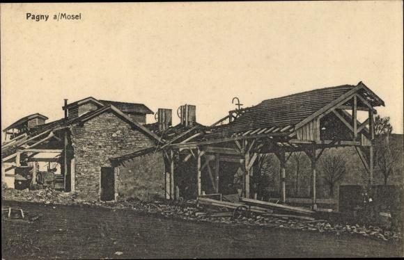 Ak Pagny-sur-Moselle Lothringen Meurthe et Moselle, Kriegszerstörungen, I. WK