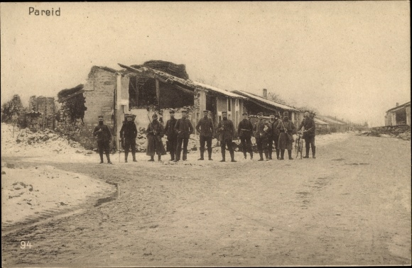 Ak Pareid Lothringen Meuse, Deutsche Soldaten, Kriegszerstörungen, I. WK