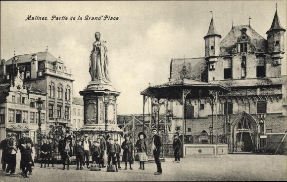 Ak Mechelen Malines Flandern Antwerpen, Partie de la Grand Place