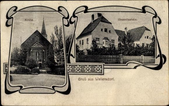 Passepartout Ak Wallersdorf Niederbayern, Kirche, Vinzentiusheim