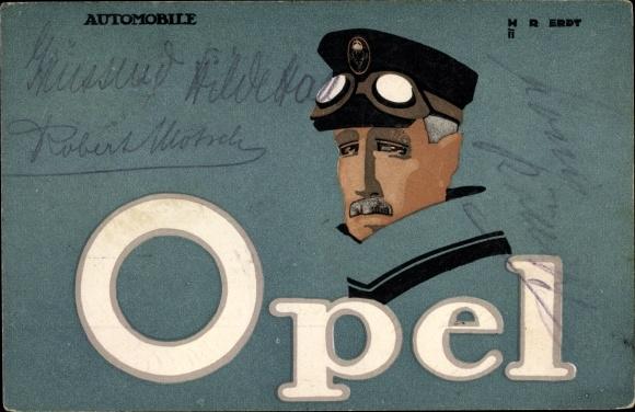 Künstler Ak Erdt, Opel Automobile, Reklame, Fahrerbrille 0