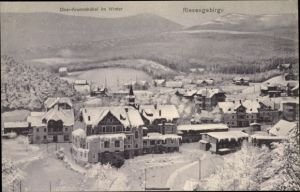 Ak Karpacz Krummhübel Riesengebirge Schlesien, Ortschaft im Winter