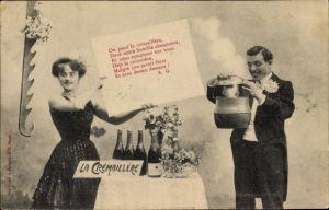 Ak La Crémaillére, Chaumière, Sektflaschen, Kochtopf