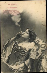 Ak Le Tabac, la Cigarette, junge Frau, Zigarette rauchend, F. Brossier