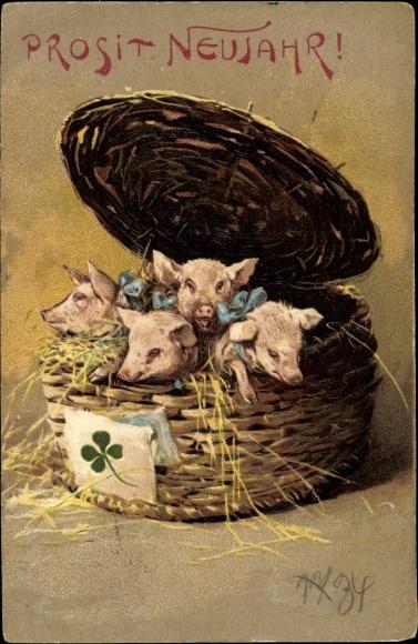 Präge Ak Glückwunsch Neujahr, Schweine, Korb, Kleeblatt
