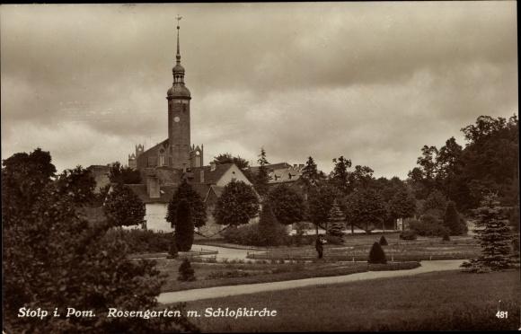 Ak Słupsk Stolp Pommern, Rosengarten und Schlosskirche