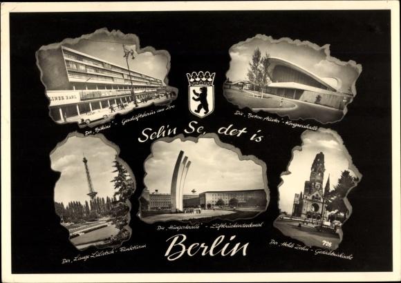 Ak Berlin Charlottenburg, Bikini, Kongresshalle, Luftbrückendenkmal, Funkturm, Gedächtniskirche