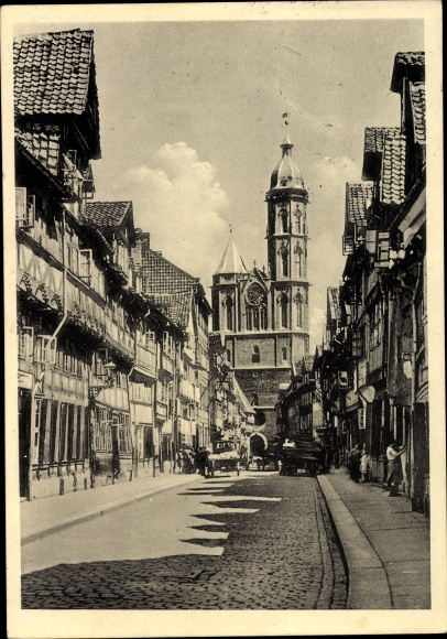 Ak Braunschweig in Niedersachsen, Weberstraße mit Blick auf die St. Andreas Kirche